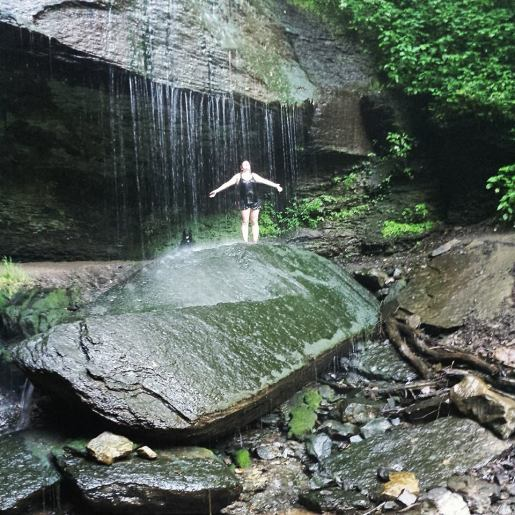 Me, soaking up Buttermilk Falls.