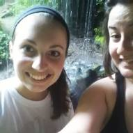 Our regular hiking buddy, Kaitlyn and I, at Buttermilk Falls.